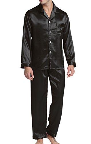 Herren Schlafanzug Pyjama Set Satin Nachtwäsche mit Langen Ärmel Loungewear (Schwarz, XL)