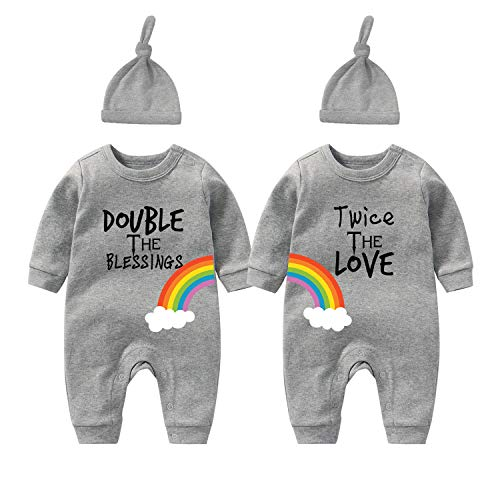 Culbutomind Baby Twins Neonato Neonato Ragazzi Ragazza Doppio Le Benedizioni Due Volte L'Amore Del Bambino Body Vestiti Abiti Doppio grigio due volte 1 mese