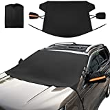 Kohree Upgrade Car Windshield Snow Ice Cover, Flexible 600D Oxford Fabric with PU Coating, Winter Snow Defender Frost Guard Sun Shade Protector, Larger Anti-Theft Cover for Most Cars Trucks SUV MPVs