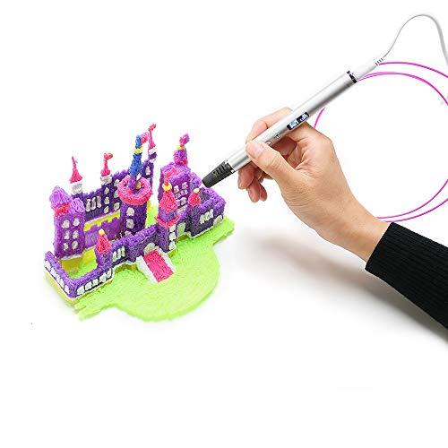 NINI 3D Printing Pen Creative Graffiti Children es Adult Stereo Brush 3D Pen Receivable Charging Treasure,Silver
