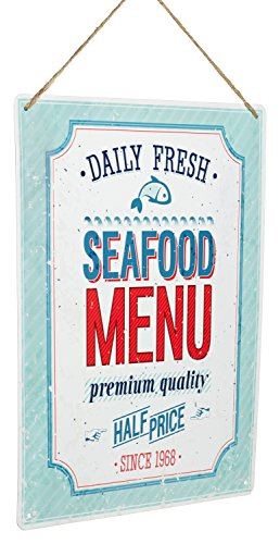 "Monarch Housewares Tin Metal Signs - ""Daily Fresh, Seafood Menu"" - Foodie, Food and Restaurant, Modern, Retro Style, Wall Decorations"