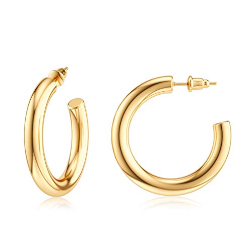 JIAYIQI Gold Hoop Earrings for Women 14K Gold Plated Stainless Steel Hoop Chunky Open Tube Big Hoops Earrings Hypoallergenic Diameter 30mm -Golden
