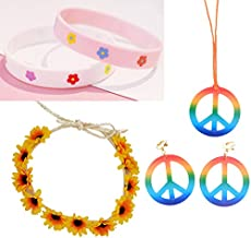 Finduat 8 Pieces Hippie Costume Set Includes 1 Piece Rainbow Peace Sign Necklace, 2 Piece Rainbow Peace Sign Earrings, 1 Piece Flower Crown Headband and 4 Piece Flower Silicone Wristbands Bracelets
