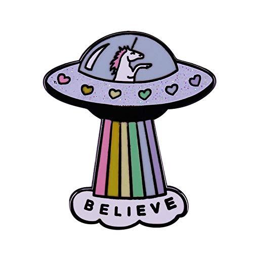 Creo Rainbow Unicorn Spacecraft Badge Magic Animal Pin Alien Spaceship Broche Accesorio