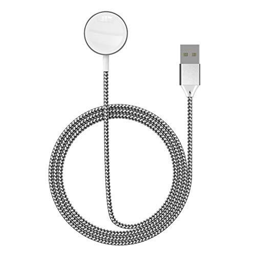SEQI Cargador de reloj de nailon trenzado de alta resistencia y dureza, cargador magnético inalámbrico portátil compatible con Watch Series SE/6/5/4/3/2/1 (negro)