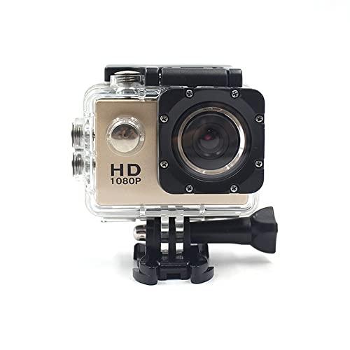 Mini cámara de deportes, cámara digital portátil, cámara de deportes digitales de alta definición al aire libre de 2 pulgadas. (oro)