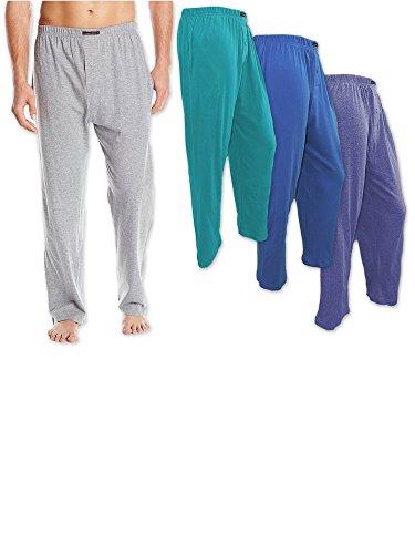 Andrew Scott Men's 3 Pack Cotton Knit Jersey Lightweight Yoga Lounge Sleep Pant (5XL, 3 Pack - Teal Blue/Sea Green/Slate Gray)