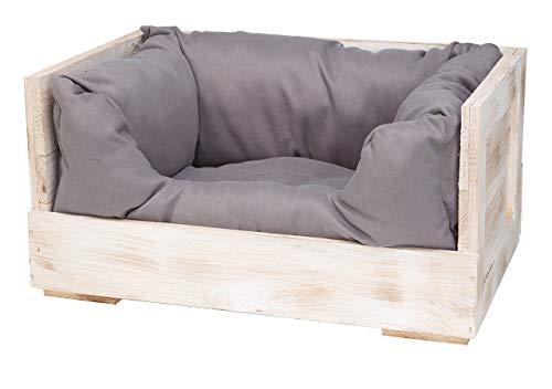 Vintage Möbel 24 GmbH 1x Hübsches Katzenbett aus Holz mit skandinavischem Flair, Holzkiste (Groß_ShabbyWeiß) 60x40x30cm