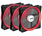 upHere Halo Ring Led 140mm case Fan 3 Pack Hydraulic Bearing Quiet Cooling case Fan for Computer Mirage Color LED Fan 3 pin with Anti Vibration Rubber Pads(Red) 14CMR3-3