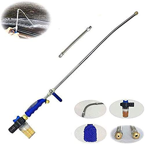 Hydro Deep Jet Power Washer Wand - 39   Long Extendable High Pressure Garden Sprayer Attachment  Water Hose Nozzle Flexible Glass Cleaning Tool  Foam Cannon Car Window Washer  2 Tips