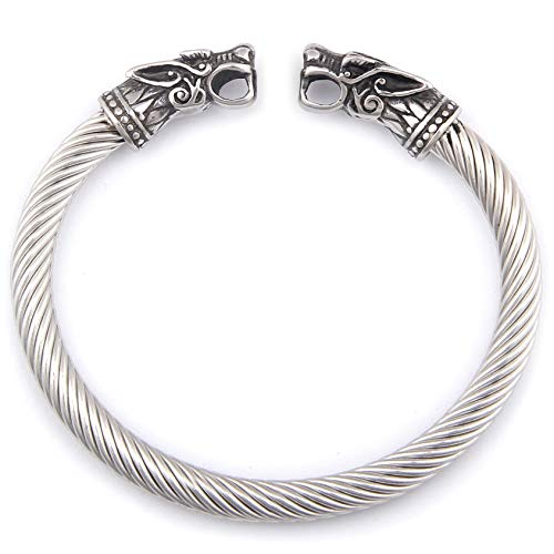 BaviPower Nordic Fenrir Wolf Heads Odin Raven Dragon Serpent Stainless Steel Bracelet Strong Pagan Jewelry Protection for Men Women (Wolf Heads 1)
