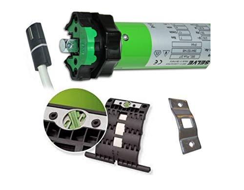 smarotech® Rollladen-Nachrüstset: Rohrmotor Selve SEL Plus 2/7 inkl. Einbruchschutz durch patentierte SecuBlock, 4-Kant-Lager, Anschlusskabel und SW 60 Adapter. (SEL Plus 2/7 mit 2 St. SecuBlock)