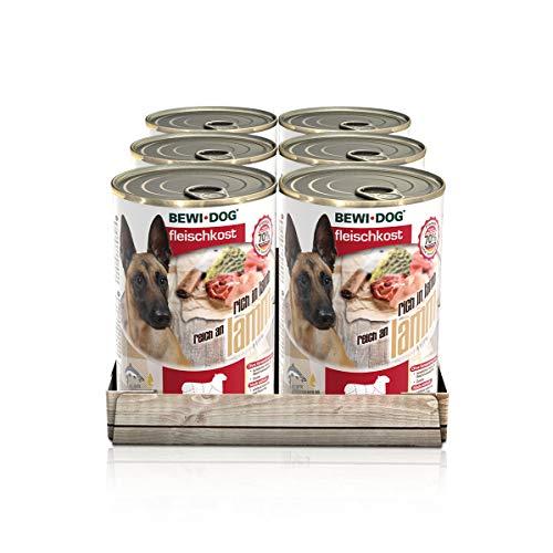 BEWI DOG Fleischkost reich an Lamm [800 g] Dose | Nassfutter für Hunde | getreidefrei | sortenrein | Muskelfleisch & Innereien mit fester Fleischstruktur | 6 x 800 g