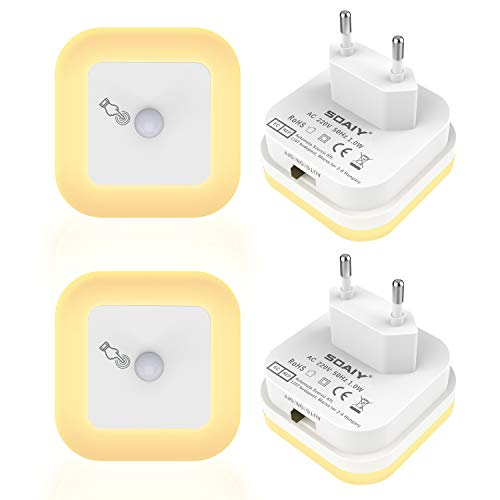 SOAIY [4 PCS] Luz nocturna LED regulable con Sensor de movimiento, Luz de orientación Ajustable con 3 modos (Auto/ON/OFF) para baños, pasillos, habitaciones infantiles, dormitorios, Blanco Cál