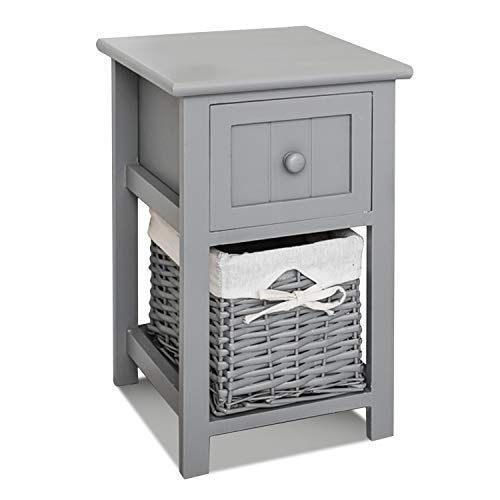 FiNeWaY Fully Assembled White Shabby Chic Bedside Cabinet Unit Table W Wicker Basket Storage Bathroom Bedroom (Grey)
