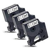 3x Labelwell 45013s 12mm Compatibile per DYMO 45013 S0720530 Nero su Bianco Nastri per Etichette con Dymo LabelWriter 450 DUO LabelManager LM 160 21OD 260P 360D 420P 500TS LabelPoint 250 Rhino 4200