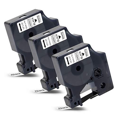 3x Labelwell 12mm x 7m Kompatibel Schriftband Ersatz für Dymo D1 45013 45013s S0720530 Schwarz auf Weiß für Dymo LabelManager 160 210D 360D 280 420P 500TS Labelpoint 250 150 100 Labelwriter 450 Duo