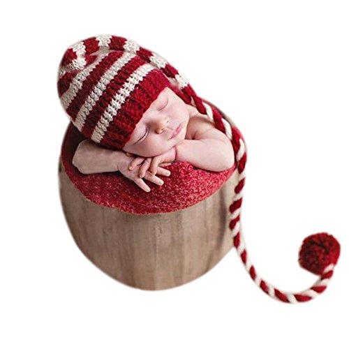 Costume per neonato, unisex per ragazzo e ragazza, accessorio per servizio fotografico, lavorato all'uncinetto, con cappello dalla lunga coda a tema natalizio