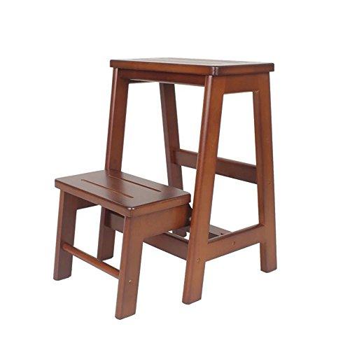 2-Stufen-Treppenleiter aus Holz mit festem Holz 2 Stufen Treppenhaus aus Holz Schuhbank Blumenständer (Size : A)