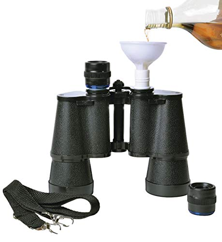 Hidden Alcohol Binoculars Flask Double Barrel 8oz Novelty Sneaky Gag Hide Booze Flask Includes Funnel and Strap