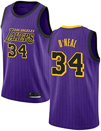 ZMIN Jerseys de Hombre Lakers # 34 O'Neal Transpirable Resistente a la Camiseta de Camiseta de Malla Bordada de Malla Bordada,XL 180~185cm