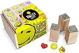 Multiprint Box de 16 Mini Sellos Smiley World, 100% Made in Italy, Set Sellos Niños Persolanizados, en Madera y Caucho Natural, Tinta Lavable no Tóxica, Idea de Regalo, Art. 47887