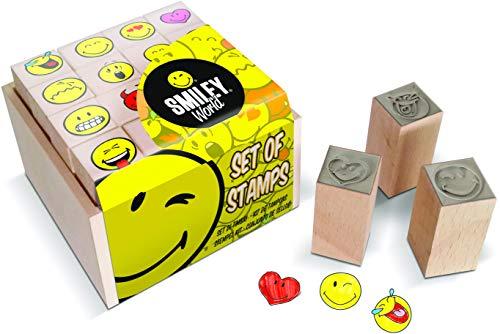 Multiprint Box da 16 Mini Timbri Smiley World, 100% Made in Italy, Set Timbrini Bimbi, in Legno e Gomma Naturale, Inchiostro Lavabile Atossico, Idea Regalo, Art. 47887