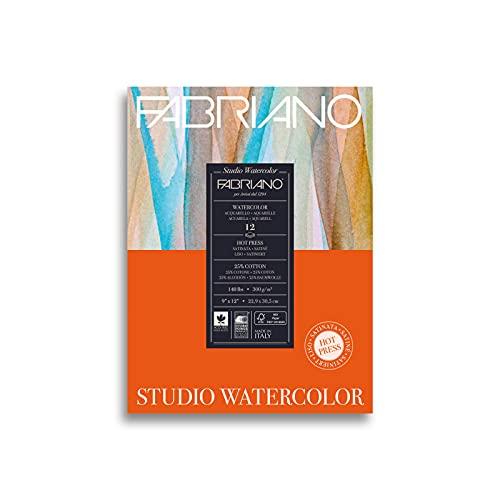 Fabriano Studio Hot Press Watercolor Pad, 9 x 12, White