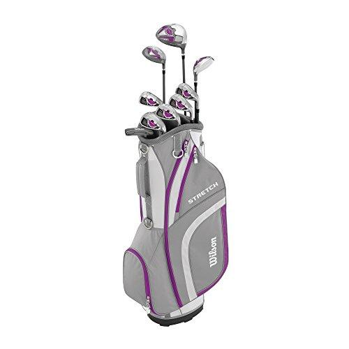 Wilson Anfänger-Komplettsatz, 9 um 1 Inch verlängerte Golfschläger mit Cartbag, Damen, Rechtshand, Stretch XL, weiß/grau/violett, WGG157555