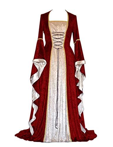 Womens Retro Halloween Costume Renaissance Medieval Dress Lace Up Irish Over Long Dresses (Wine, X-Large)
