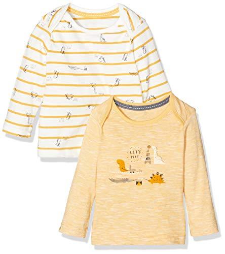Mothercare Io NB Ad 2pk LS Tops Camiseta, (Yellow 71), 0-3 Months (Size:62) para Bebés