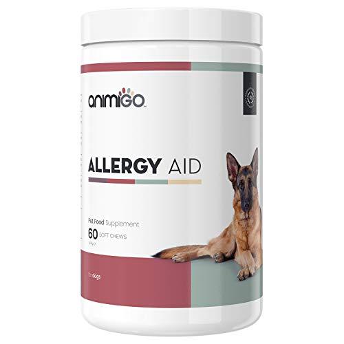 Animigo Comprimidos para Alergia en Perros | Suplemento Alimenticio para Alergias Ambientales, Comida, Piel | Aceite de Pescado, Levadura Cerveza y Semilla Calabaza | Omega, Zinc, Magnesio y Más | 60