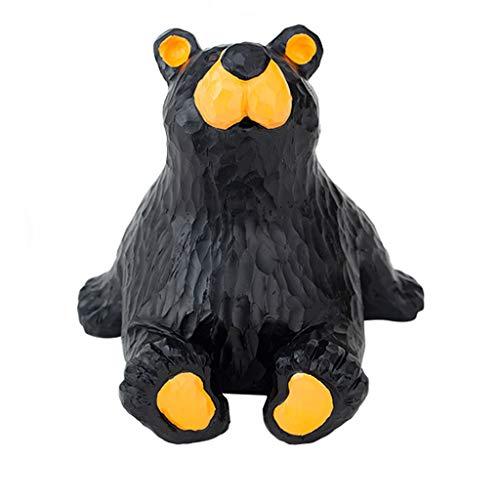 PiggyBank Hucha Grande de Oso Negro para niños, Bonita decoración de Estatua de Animal de Resina, Caja de Ahorro de Monedas Hecha a Mano, Banco de Monedas de Oso Sentado Decorativo para Adultos