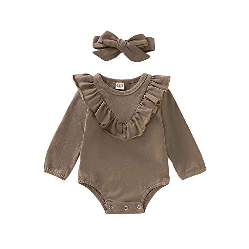 Xmiral Baby Mädchen Langarm Rüschen Oansatz Strampler + Stirnband Outfits Neugeborenen Bodysuit Overall Haarband Tasten Pyjama(Grün,12-18 Monate)
