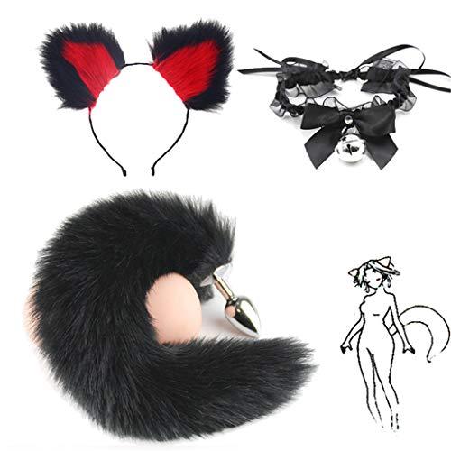 3 piezas esponjosas negras de cola de zorro de imitación B-ü~t`t Pl-ù`g...