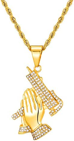 Lee Island Fashion 18K Gold Plated CZ Prayer Hand With Gun Pendant Stainless Steel Necklace product image