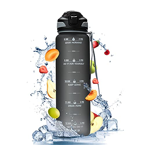 JIKKO Trinkflasche 1L mit Silikonstrohhalm Wasserflasche kohlensäure geeignet Sportflasche mit Halter spülmaschinenfest Tritan BPA-frei Eco Auslaufsicher Flasche für Kind Fitness Schule Gym Fahrrad