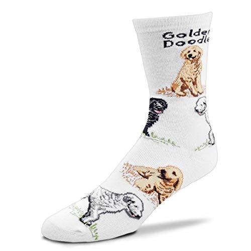 For Bare Feet Women's FBF Originals Novelty Dog Socks, Golden Doodle Poses, Medium