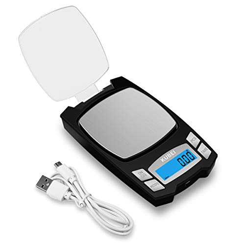 KUBEI Rechargeable Digital Pocket Scale 500g 0.01g, Mini Electronic Jewelry Scale, Portable Food Scale Jewelry Gram Scale, Small Milligram Scale with LCD Display