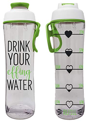 24 oz. BPA Free Reusable Water Bottle with Time Marker - Motivational Fitness Bottles - Hours Marked...