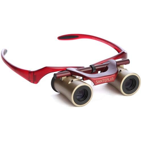 KabukiGlasses Opera Theater Binocular 4x13mm, Hands-Free Autofocus with Ultra Bright Lens, Gold/Red