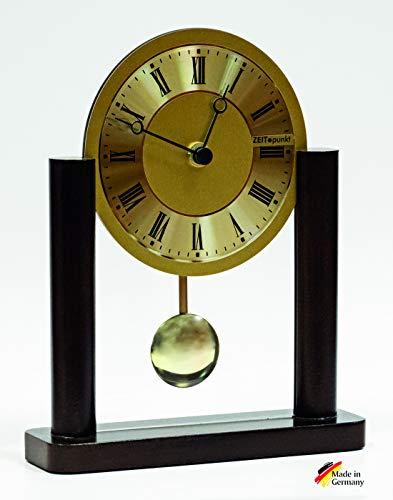 Tijdpunt tafel pendelhorloge, betrouwbaar kwartsuurwerk, Made in Germany, walnootglas, 19 x 23 x 6 cm - 345407