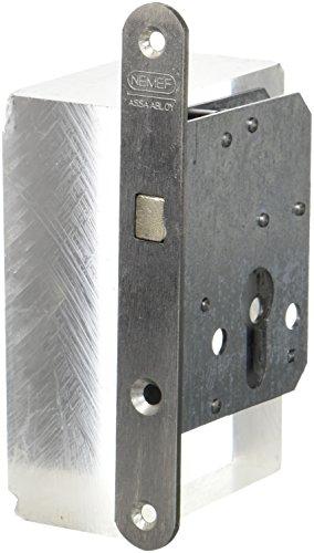 nemef 9751620009Puerta Corredera Cerradura con arco cerrojo Incluye Cerradero, niquelado, mandril: 45mm