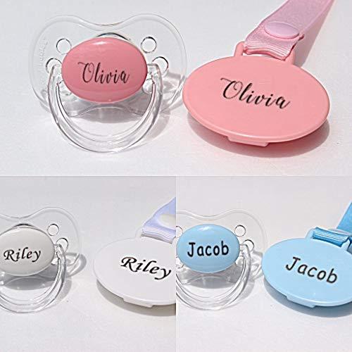 Schnuller mit Name, personalisierbarer Schnullerclip, rosa, blau oder weiß, mit Gravur, personalisierbares Babygeschenk, sterilisierbar