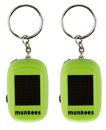 munkees 2 x Mini Solar Dynamo Taschenlampe, LED, Kurbel, Schlüsselanhänger, Schlüsselring, Doppelpack, 1101