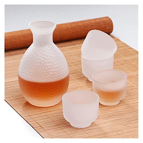 Ersanc Japonés Sake Pot Set Golden Edge Vidrio Sake Botella Set de...