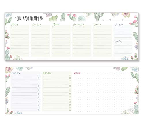 Wochenplaner Block ohne festes Datum [Kakteen] 50 Blatt | Tischkalender quer inkl. großes Notizfeld, To-Do-Liste & Einkaufsliste von Trendstuff by Häfft | klimaneutral & nachhaltig