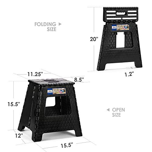 ACSTEP Step Stool 16 Inches Upgraded Folding Step Stool, Kitchen Stepping Stool, Plastic Step Stool Foldable Step Stool for Adults,Black