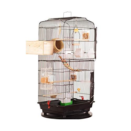 Jaulas de pájaros Casa de pájaros Grande Bird Bird Metal Birdcage High Bird House Casa de pájaros de Madera Maciza para el tordo, Loro, Loro, pájaro del Amor Nidos Stands Pet Home (Color : Black)