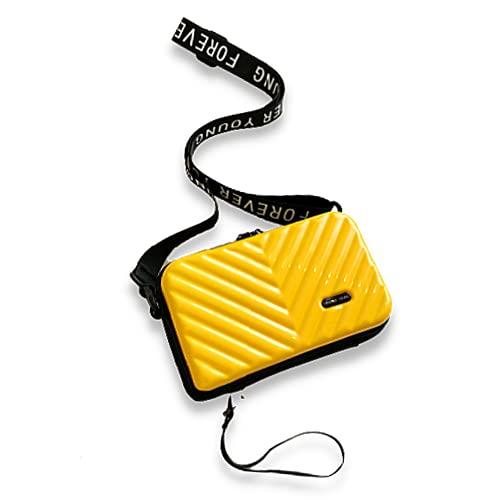 Bolso de Teléfono Móvil, Bandolera pequeña, Bolsa con cremallera, Bolso estilo maleta monedero con ranuras para tarjetas wallet (Amarillo)